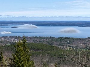 View of a Fog Covered Frenchman Bay From Cadillac Mountain