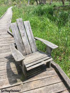 An Adirondack Chair on a Boardwalk on the Appalachian Trail New York State